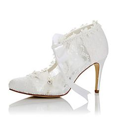 JIAJIA 16798 Women's Bridal Shoes Closed Toe High Heel Ladies Wedding Shoe Lace white off white Wedding Shoes Online, Satin Wedding Shoes, Wedding Pumps, Wedding Boots, Wedding Shoes Heels, Bride Shoes, Lace Wedding, Wedding Dress, High Heel Pumps
