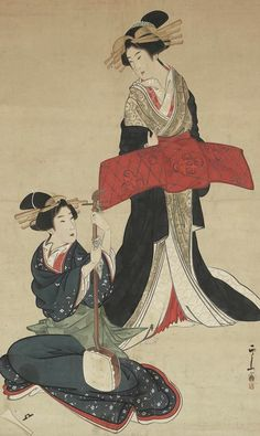 Oiran and geisha-samisen. Main detail of a hanging scroll; ink and color on silk, early 19th century, Japan by artist Setuzan. MFA
