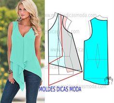 Passo a passo transformação do molde de blusa assimétrica. Para fazer este modelo de blusa imprima o molde base de blusa e faça a gradação ao seu tamanho.