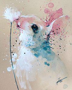 Tilen Ti - Bunny watercolor with gouache painting art print Gouache Painting, Painting & Drawing, Bunny Painting, Animal Paintings, Animal Drawings, Watercolor Paintings Of Animals, Easter Drawings, Art Paintings, Lapin Art