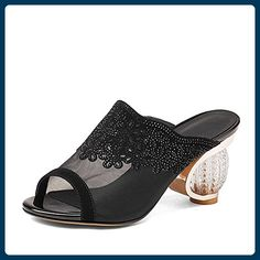L@YC Damen High Heeled Schuhe Sommer Leder Fisch Mund Hausschuhe Wasser Rohr Netz Garn Dicke mit dem Kristall , black , 34 - Sportschuhe für frauen (*Partner-Link)