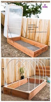 DIY covered greenhouse raised garden bed tutorial # removed # bed # DIY # garden design vegetable # garden The most beautiful picture for home decor v Greenhouse Plans, Greenhouse Gardening, Greenhouse Wedding, Diy Small Greenhouse, Porch Greenhouse, Cheap Greenhouse, Balcony Gardening, Garden Planters, Back Gardens