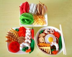 DIY Felt Colored Ramen,Japanese Udon,Bowtie pasta(14 in 1)--PDF Patterns and…