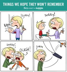 Things We Hope They Won't Remember (Parenting Comic by Betje.com for Babble)