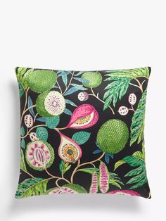 Sanderson Jackfruit Cushion, Multi at John Lewis & Partners Palm Beach Decor, Tropical Home Decor, Tropical Vibes, Front Room Design, Sanderson Fabric, Colourful Cushions, Cushion Filling, Fabric Wallpaper, Colour Schemes