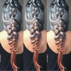 Ahh-mazing Game of Thrones braided style and sterling silver color melting to harvest peach by Sam Ploskonka hotonbeauty.com