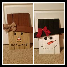 This wooden Scarecrow/Snowman is made from pallet slats. It is handmade and hand painted with acrylic paint. It is approximately 22 inches tall