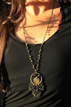 long black macrame necklace with special one of a kind pendant