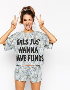 Image 1 - ASOS - Girls Just Wanna Have Funds - Ensemble short et t-shirt court de pyjama