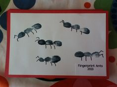 Fingerprint ants Preschool Projects, Daycare Crafts, Classroom Crafts, Preschool Crafts, Ant Crafts, Insect Crafts, Alphabet Crafts, Letter A Crafts, Summer Crafts For Toddlers