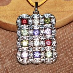 elegant modern cocktail necklace pendant silver plate Cz topaz jewelry #Pendant