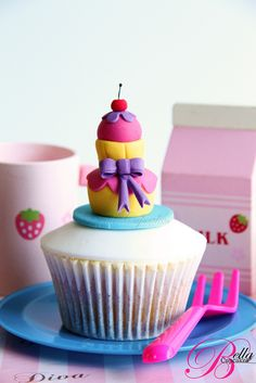 Layered Cake on a Cupcake