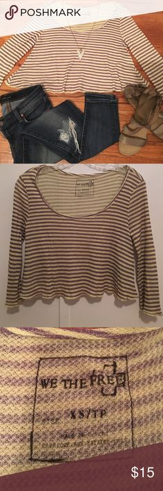 Free People lime and taupe swing crop top Super soft thin light weight  NWOT cute not to short cropped fit. Free People Tops Crop Tops