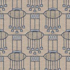 a fawn and blue flat-weave  fabric - Backhausen Art Deco Lampen Blue