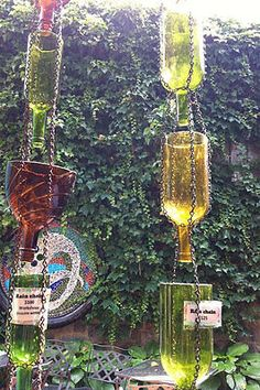 "As Seen on Pinterest ""re Purposed Wine Bottle Rain Chain Rain Catcher"" 