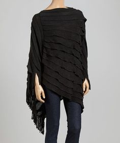Top It Off Black Ruffle Poncho by Top It Off #zulily #zulilyfinds