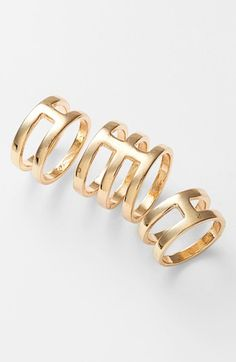 Leith Cutout Statement Rings (Set of 3) | Nordstrom