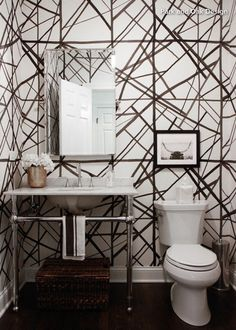 Channels wallpaper in ebony and ivory by Kelly Wearstler for Groundworks…