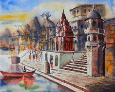 $149 USD. A medley of Ghats of Varanasi: A landscape painting of different Ghats in Varanasi.