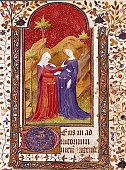 The Visitation. Miniature from the Book of Hours of Queen Isabel I of Castile (1451-1504). 15th century. Biblioteca Capitular y Colombina, Seville, Spain