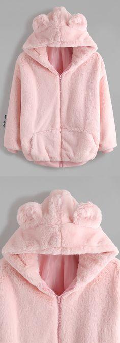 Pink Bear Ear Hooded Zipper Up Shaggy Coat