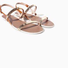 FLAT SANDALS WITH METALLIC STRAPS | Zara