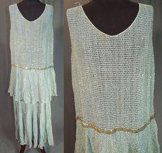 Art-Deco-Blue-Silk-Mesh-Net-Silver-Sequin-Beaded-Drop-Waist-Flapper-Dress-Vtg