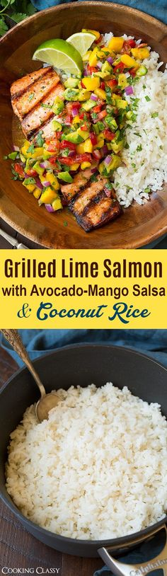 Grilled Salmon with Mango Avocado Salsa - Here you have one of the ultimate summer meals! Flaky tender salmon is topped with a bright and creamy mango avocado salsa and served alongside of bed or rich coconut rice. Sure to impress anyone lucky enough to try it! #salmon #grilledsalmon #mangoavocadosalsa #coconutrice