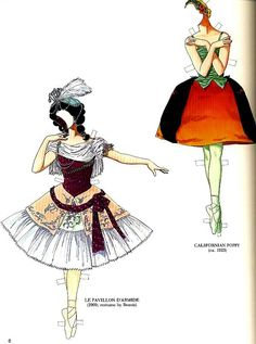 Tom Tierney, Pavlova & Nijinsky Paper Dolls, Uncut, Ballet, Costumes, from tapestrycollectibles on Ruby Lane