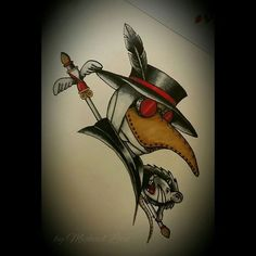 """""""Fun little plague doctor. #michaellock69 #mytattoodesigns #drawings #sketching #traditional #traditionaltattoo #neotraditionaltattoo #neotraditional…"""""""