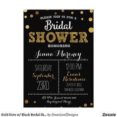 Gold Dots w/ Black Bridal Shower Invitation