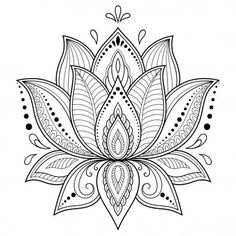 Henna Drawings, Art Drawings, Muster Tattoos, Mehndi Style, Lotus Tattoo, Hamsa Tattoo, Flower Template, Flower Tattoos, Doodle Art