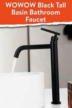 Our tall Black Vessel Sink Faucet is the perfect addition to any vanity where the sink sits on top. This attractive faucet is sturdy and elegant with a modern design. Our vessel sink black faucet is is the perfect update for any modern bathroom design. #Wowow #blackbathroomfaucet #vesselsink Matte Black Bathroom Faucet, Modern Bathroom Faucets, Bathroom Shower Heads, Bathroom Hardware, Modern Bathroom Design, Sink Faucets, Bathroom Ideas, Modern Design, Tall Basin Taps