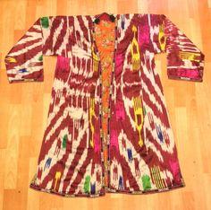 Vintage Uzbek silk ikat adrass kaftan chapan ethnic tribal unique Asian clothes