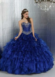 Puffy Royal Blue Quinceanera Dresses Sweetheart Diamond Beaded Organza Dark Blue Quinceaneras Decorations Vestidos De 15 Anos