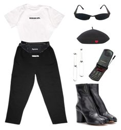 """""""#770"""" by babygyal09 ❤ liked on Polyvore featuring Versace, Maison Margiela, casual, blackandwhite, matte, tabiboots and MATTEbrand"""