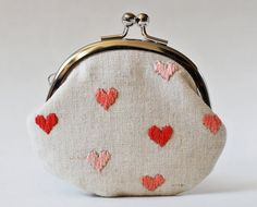 Pink hearts embroidered coin purse change purse kiss lock by oktak