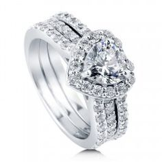 Heart CZ 925 Sterling Silver 2-Pc Insert Halo Bridal Ring Set 1.13 Ct