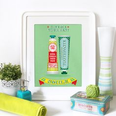 Word Print Typography Illustration Art Poster in Mint Green - GIVE Me your BEST SMILE - A3 poster - bathroom vintage mid century decoration