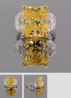 There's nothing like a canary radiant to light up your day! This gorgeous 3-stone ring features a 15 x 12 mm (approximately 13 carats) canary yellow radiant cut CZ and two approximately 10 x 5 mm (difficult to get exact measurements in setting) colorless half-moon CZs. The two-tone 14k white and yellow mountings is very well done, substantial yet elegant. http://winkcz.com/web/store-product-detail/id/1507/radiance-3-stone.html
