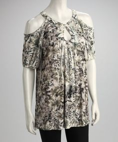 Take a look at this Brown Floral Jungle Sublimation Cutout Tunic by Simply Irresistible on #zulily today!