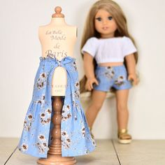 My first time making my own clothes of a long skirt that match with my shorts in Paris. My American Girl Doll, American Girl Crafts, American Doll Clothes, Girl Doll Clothes, Doll Clothes Patterns, Girl Dolls, Doll Patterns, American Girl Wellie Wishers, America Girl