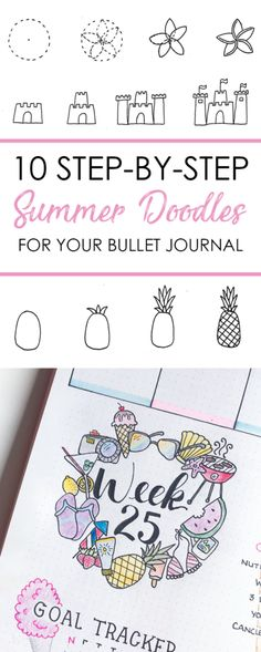 10 Step-by-step summer doodles for your bullet journal.