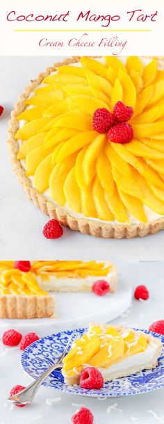 You will love this Coconut Mango Tart! It is fresh and a perfect bright sunny dessert! You will love this Coconut Mango Tart! It is fresh and a perfect bright sunny dessert! Desserts For A Crowd, Winter Desserts, Easy No Bake Desserts, Delicious Desserts, Yummy Treats, Sweet Treats, Trifle Desserts, Strawberry Desserts, Party Desserts