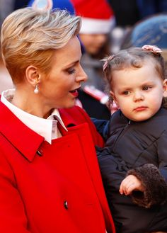 "ohtheroyalchildren: """"Darling Princess Gabriella with her mother, Princess Charlene (December 14, 2016) "" """