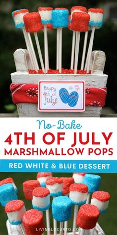of July Marshmallow Pops - Easy Red White and Blue Dessert - - of July Marshmallow Pops are a sweet and easy no bake red, white and blue treat to make this summer! Easy party dessert recipe with printable tags. Dessert Party, Dessert Cake Recipes, Easy No Bake Desserts, Party Desserts, Delicious Desserts, Party Recipes, Birthday Desserts, Recipes Dinner, Appetizer Recipes