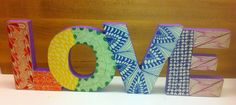 Standing Wooden Love Letters with Zentangle Patterns, $35 www.etsy.com/shop/GalensTangles