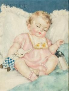 Charlotte Becker - Child Sleeping With Toy Rabbit And Milk Bottle