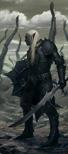 Drow warrrior, fantasy, rpg, character ideas, sword and shield