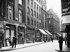 Brewer Street and the corner of Wardour Street in Soho, London, Britain 29 Jul 1956 Photo by Daily Mail/REX/Shutterstock Liverpool Street, London Street, Vintage London, Old London, West London, Brewer Street, Berwick Street, London History, London Life